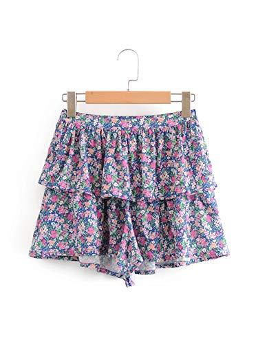 Pantalones cortos EMP-Wang con estampado de flores vintage para mujer, sueltos, casual, cintura alta, volantes, para playa, mujer, retro, chic, floral, vacaciones