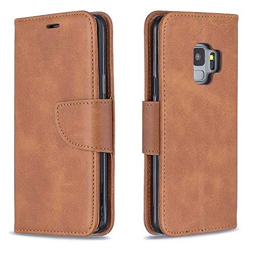 GIMTON Hülle für Galaxy S9, Kratzfestes PU Leder mit Magnetisch Verschluss und Kartenfach für Samsung Galaxy S9, Hochwertige Brieftasche Tasche, Braun