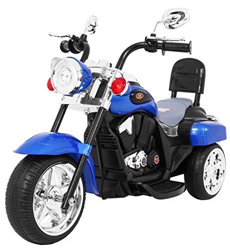 Maxy Chopper NightBike - Moto eléctrica infantil (triciclo), color azul