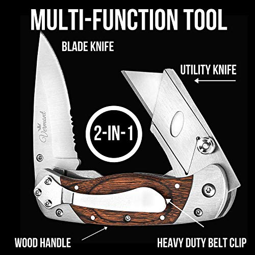 Box Cutter Utility Knife Folding Combo - Stainless Steel & Wood Handle Razor Knives. Best Gift Set Idea for Carpenters and Construction Workers.
