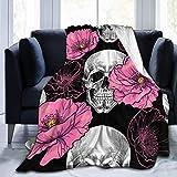 BXBX Manta de Forro Polar, Flor, Calavera, Amapolas Rosas, para Mujer, Unisex, Manta de Felpa, Manta de Forro Polar, Manta borrosa para sofá Cama, sofá