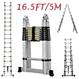 Telescopic Ladder 16.5Ft 5M Multi-Purpose Aluminium Telescoping A-Frame Folding Ladder Extension Extendable 330lb Load Capacity EN131 Standard