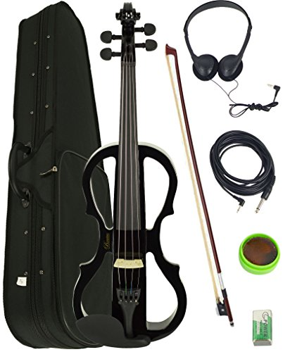 Barcelona 4/4-Size Electric Violin - Black Bundle with Case, Bow, Rosin, Headphones, Cable, and Battery