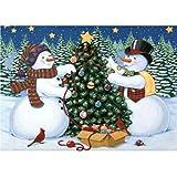 MXJSUA 5D DIY Kit de Pintura de Diamante por número Taladro Completo Perlas Redondas Suministros de Imagen Artesanía Etiqueta de la Pared Decoración 30x40cm Muñeco de Nieve Árbol de Navidad