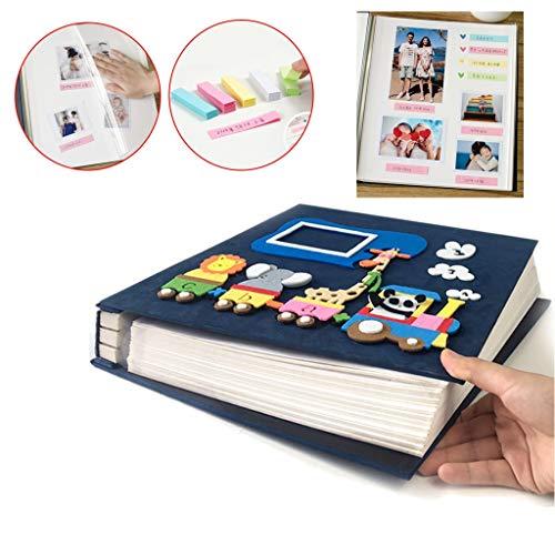 Kid Pair Fotoalbum met veel ruimte om te schrijven, pagina's met plakfolie voor auto, trein, dier, fotoalbum, herdenk, 80 PAGES