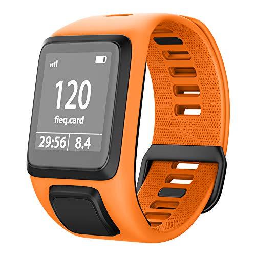 NotoCity Kompatibel mit Tomtom Armband Silikon Uhrenarmband Ersatz für Spark/Spark 3/Golfer 2/Adventurer/Runner 2/3 Smartwatch (Orange)