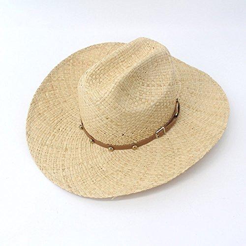 LICCC Der Strohhut der Männer hellgelber Faltbarer England-Cowboyhutsommer im Freien breites Haus Wide Sonnenhut UVschutz