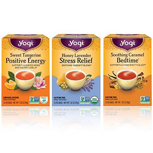 Yogi Tea Wellness Sampler Bundle - (Pack of 3) Herbal Tea Variety Flavors Include - Sweet Tangerine Positive Energy, Honey Lavender Stress Relief, Soothing Caramel Bedtime Teas
