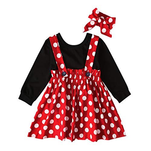 Livoral 2019 Kleidung Set Kleinkind Baby Kind Mädchen Solid Top Point Plissee hohe Taille insgesamt Rock Set(Rot,80) …