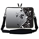 Laptop-Tragetasche, mit versteckten Griffen und verstellbarem Schultergurt, für Notebooks mit 15 Zoll oder 15,6 Zoll oder für kleine Notebook-PCs, 38-40cm, Grau-Schwarzes Swirl-Design