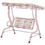 Outsunny Kinder Hollywoodschaukel Kinderschaukel mit Sonnendach 2-Sitzer Gartenschaukel für 3-8 Jahre Metall Rosa 110L x 70B x 110H cm