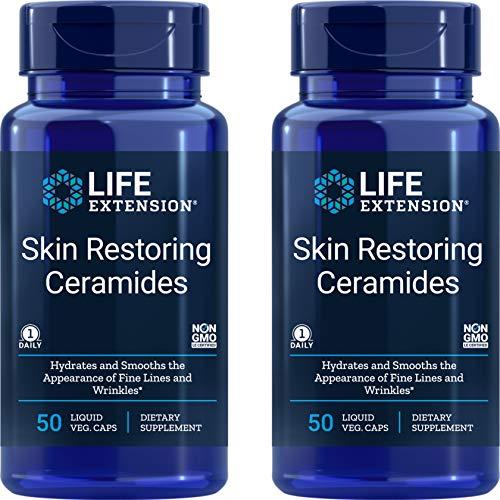 Life Extension Skin Restoring Ceramides, 50 Liquid Veg Caps (Pack of 2) - Non-GMO, Vegan Phytoceramide Supplement