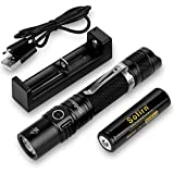 Sofirn SP31 v2.0 Tactical Flashlight Ultra Bright Cree XPL HI LED Max 1200 Lumens, Features 5 Modes and Hidden Strobe SOS with Rechargeable 18650 Battery and USB Charger