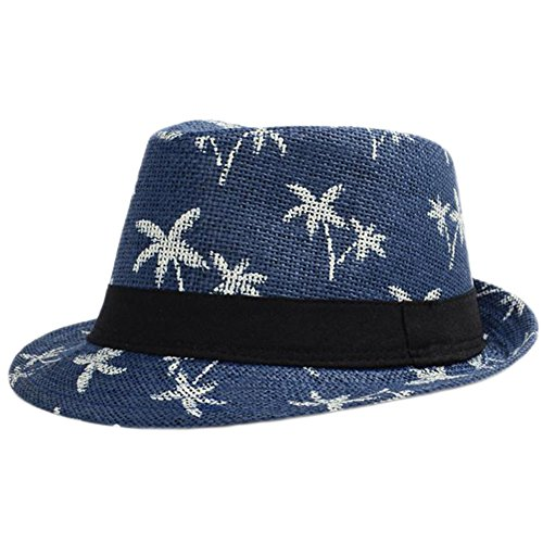 Yonger Summer Straw Hat Cool Beach Hat Blue Hat Visor Sun Hat Breathable Dome Travel Cap Coconut Tree Straw Hat