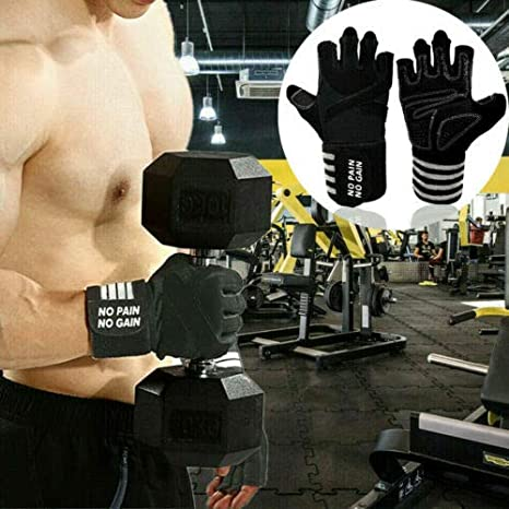 Rowing Weight Lifting Gloves Work Out Gym Gloves Men Women Crossfit with Wrist Wraps Support Weightlifting Hanging Biking Anti-Slip Grip Half Finger Gloves for Exercise Training