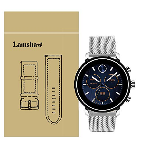LvBu Armband Kompatibel mit Movado 2.0, Classic Rostfreier Edelstahl Uhrenarmband für Movado Connect 2.0 Smartwatch 40mm/42mm (Silber)