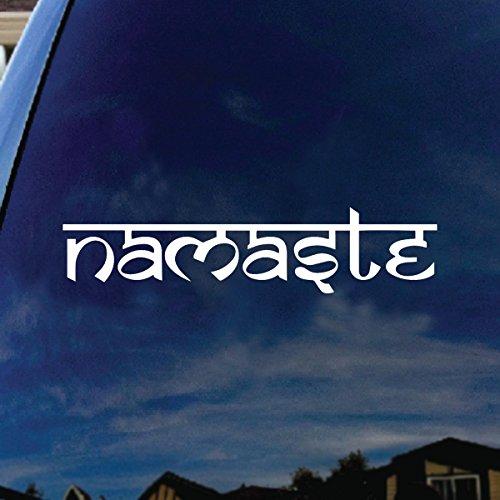 SoCoolDesign Namaste Tibet Buddha Car Window Vinyl Decal Sticker 8' Wide (White)