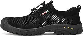 TQGOLD Sandales Homme Cuir Été Extérieur Sabot Chaussures de Randonnée Marche Noir 46 EU