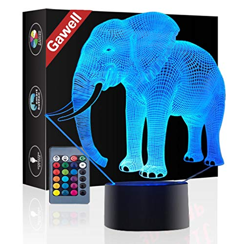 Elephant 3D Illusion Birthday Gift Lamp, Gawell 16 Colors Changing Touch Switch Table Desk Decoration Lamps Mother's Day Present with Remote Control Toy for Elephant Theme Lover