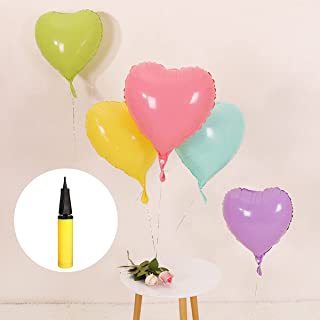 STIMULATE 25 Assorted Macaron Color Heart Shaped Balloons 18 Inches 5 Kinds of Foil Balloons, Foil Balloons for Party Deco...