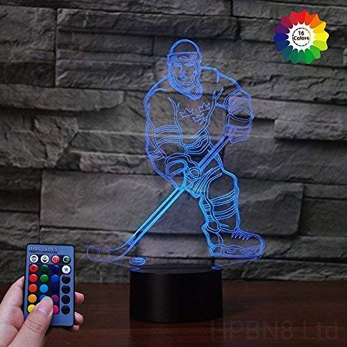 HPBN8 Ltd 3D Eishockey Sport Illusions LED Lampen Fernbedienung USB Power 7/16 Farben 3D LED Lampe Formen Kinder Schlafzimmer Geburtstag Weihnachten Geschenke