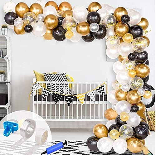 king's deal 124 PACKAGE Balloon Garland Arch Kit Balloons-Baby Shower Wedding Birthday Bachelorette Engagements Anniversary Party Backdrop DIY Decorations Balloons (black/gold)