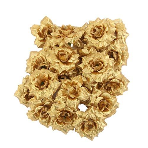 Blumen Koepfe - SODIAL(R)50 Stk. Seide Rosen Kuenstliche Braut Clips Hochzeit Dekoration Blumenkoepfe (Golden)