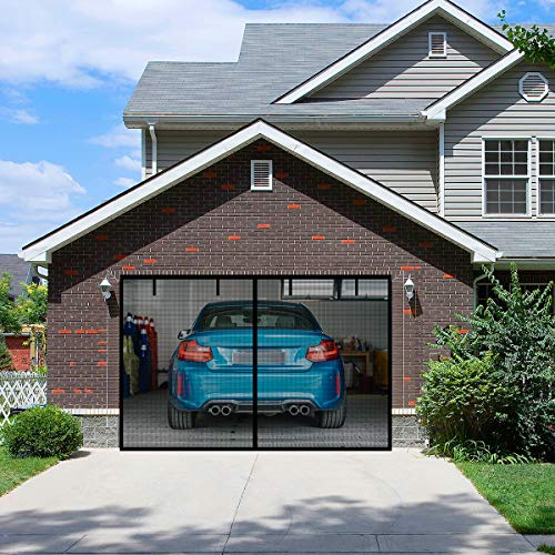 FBve Magnetic Garage Door Screen with 4 Strapping Tapes for 1 Car Garage 9x7ft, Reinforced Fiberglass Mesh Door Screen with Closure Weighted Bottom, Durable Magnetic Screen Door Curtain Cover Kit
