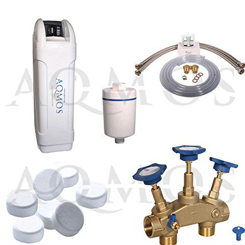 Hochwertige Aqmos BM-60 Wasserenthärtungsanlage im Set mit Montageblock und 100kg Regeneriesalztabletten, Wasserenthärtungsanlage für Haushalte bis zu 5 Personen, Entkalkungsanlage, Antikalkanlage
