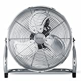 Sogo Ventilador Industrial Grande de bajo consumo, 3 velocidades, Aspas de Aluminio, Cromado Color: Plata [Clase de eficiencia energética A] (45cm)