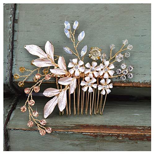 SWEETV Gold Braut HaarKaamm Strass Hochzeit Clip Blume Haarschmuck Kopfschmuck für Frauen