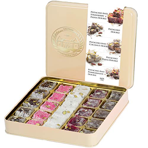 Double Roasted Pistachio Turkish Delight Lokum Dessert Gourmet Gift Box Tin, Luxurious Selection of Strawberry, Pomegranate, Coconut and Pasha, 26 Pieces, 500g, 18oz