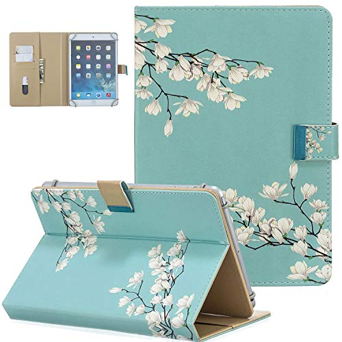 UGOcase 9.5-10.5 inch Tablet Case, PU Leather Folio Stand Case [Card Slots&Pocket] for Fire HD 10,iPad Air 1/2,iPad 9.7 2017/2018,iPad Pro 9.7/Pro 10.5 & Other 9.5'-10.5' Tablet,Gardenia