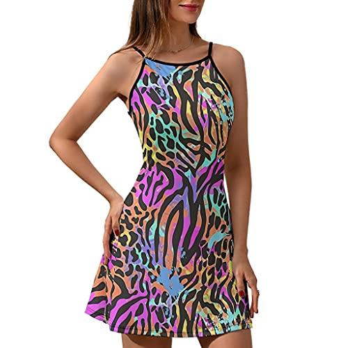 Haythan Vestido con tirantes para mujer, estampado de leopardo multicolor, estampado de leopardo, agradable sensación blanco M