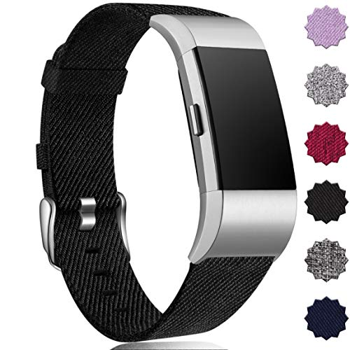 Maledan Compatible with Fitbit Charge 2 Bands for Women Men, Breathable Woven Fabric Replacement Accessory Strap Compatible with Fitbit Charge 2 and Charge 2 SE Fitness Activity Tracker, Large, Black
