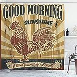 DYCBNESS Duschvorhang,Huhn Guten Morgen Sonnenschein Zeichen mit Zeichnung des Hahns Sun Cock Cockerel Drawn Hand Natural,Langhaltig Hochwertig Bad Vorhang Wasserdichtes Design,mit Haken 180x180cm