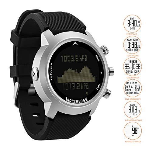 SW Watches North Edge Herren Sport Smart Digital Taucheruhren mit Touchscreen/wasserdicht 100M/Höhenmesser/Kompass/Barometer/Hintergrundbeleuchtung Multi Armee Armbanduhr für Outdoor,Black