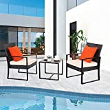 Furnimy 3 Pieces Outdoor Chairs Furniture Patio Set Patio Chairs and Table Set Modern Furniture Outdoor Bistro Set Rattan Wicker with Cushions (Beige)