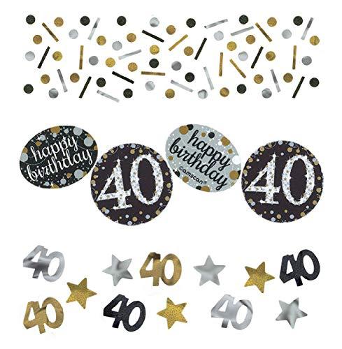 amscan confettis, doré argent noir , 40 ans