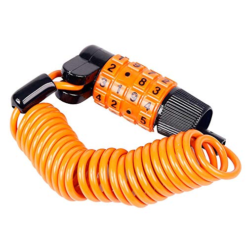 Gnohnay Bike Combination Lock Heavy Duty and Compact, Theft Proof, No Keys Required, 4 Digit Password, Chain Padlock, Best for Motorbike and Mountain Bicycle Security,Orange