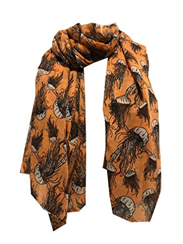 Pamper Yourself Now Peachy Orange Qualle-Entwurfs-Schal- Peach Orange Jellyfish Design Scarf