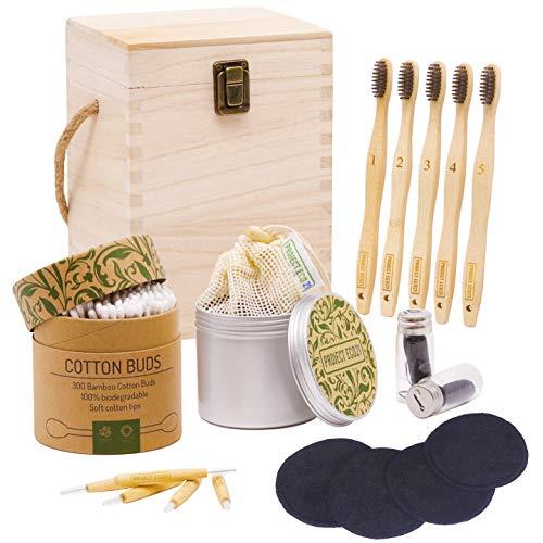 Set regalo ecosostenibile zero waste Project Eco21 - Dischetti struccanti lavabili, spazzolini da denti in bambù e cotton fioc biodegradabili ed altri articoli essenziali una bella scatola di legno