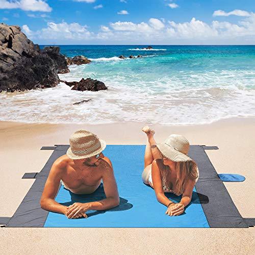 Eastshining Alfombras de Playa, Manta Picnic Impermeable 210 * 200cm con 4 Clavo de Tierra para la Playa, Picnic, Acampa y Otra Actividad al Aire Libre