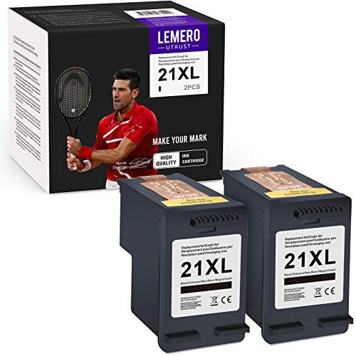 LEMEROUtrust 21XL(2xNegro) Reacondicionado Cartuchos de Tinta Compatible para HP Deskjet F375 F4180 F370 F380 F4100 F2180 F350 F385 F390 F394 F4135 F4140 PSC 1415 1410 Impresora