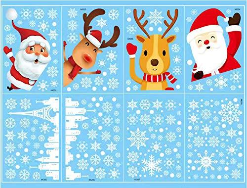 Kaishuai-weihnachtsdeko,Weihnachten Fensterdeko Set,Schneeflocken, winterdeko Aufkleber,Weihnachtsmann,Hirsch,fenstersticker weihnachten,fensterbilder selbstklebend,Schaufenster,Fensterdeko Set