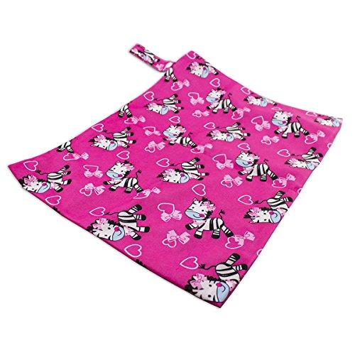 caseroxx luiertas/Wet Bag/wikkeltas met ritssluiting, premium grootte, babystrand- badtas 30x40 Two Pocket Zebra patroon