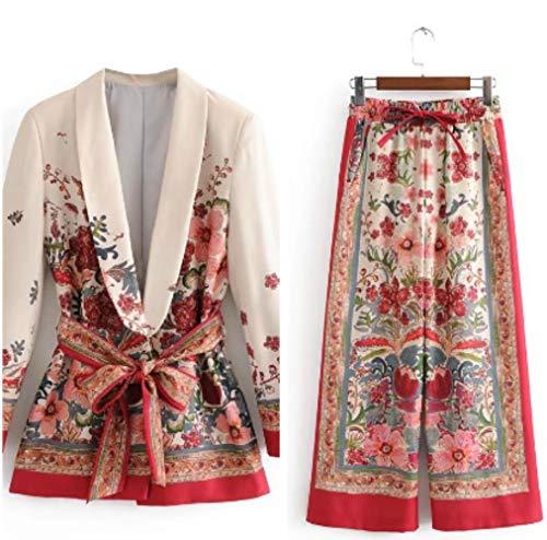 HKRT - Chaqueta de traje femenino con cinturón ancho de la pierna del pantalón conjunto de traje de Harajuku para mujer, abrigo de primavera elegante Outwear Lady Blazer Traje. L