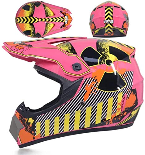 Wzglod Motocross casco del motociclo adulte e adulte MX motocross AM Mountainbike casco (guanti, occhiali, maschera, 4 pezzi) L,stelle d'arancio,L