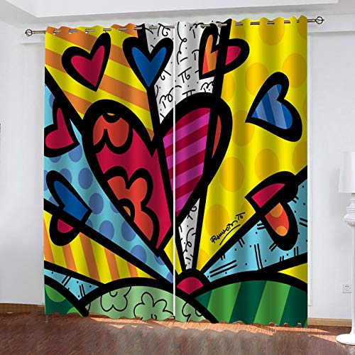 RXWZRL Cortinas Opacas Habitacion Infantil 3D Forma De Corazón Abstracto Estampadas Cortinas Dormitorio Salon con Ojales para Hogar Decoración Termicas Aislantes Frio Calor 100X160 cm 2 Piezas