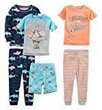 Simple Joys by Carter's Baby Boys' Toddler 6-Piece Snug Fit Cotton Pajama Set, Shark/Champ/Surf, 5T